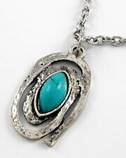 Turquoise Colored Marquis Shaped Western Silvertone Pendant New Necklace #140-C