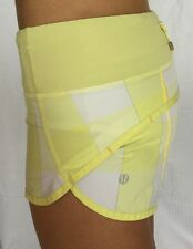 LULULEMON Size 2 Run Speed Shorts Mellow Lemon Burning Yellow Check Plaid GUC