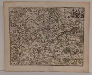 HAINAUT BELGIUM 1692 JAN PEETERS UNUSUAL ANTIQUE ORIGINAL COPPER ENGRAVED MAP