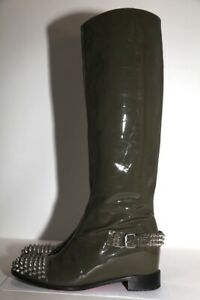 CHRISTIAN LOUBOUTIN Egoutina Spiked Patent Leather Riding Boots Size 38.5