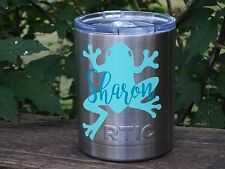 Custom Name Frog Vinyl Decal for Stainless Tumblers, Coffee Travel Cups, Mugs