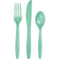 24 Assorted Mint Green Wedding Birthday Party Tableware Plastic Cutlery Set