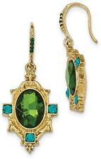1928 Jewelry - Gold-tone Blue and Green Crystal & Glass Textured Dangle Earrings