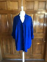 AGB Woman Royal Blue 3/4 Sleeve Blouse with Camisole 2X