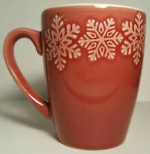 Dark Red Etched Coffee Mug Cup Snowflakes Winter Holiday Season Cheermister Fun