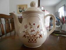 "Mayblossom Teapot Coffee Pot 8 3/4"" H Cumberland Hearthside Stoneware Brown !"