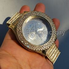 Men's Hip Hop Full Iced out JAY-Z Gold PT Bling Simulated Diamond Rapper Watch
