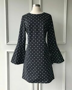 New Country Road Eyelet Broderie Mini Dress Black Size Sz 16