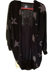 Ladies Unbranded Size M Sheer Lightweight Waterfall Cardigan With Star Detail