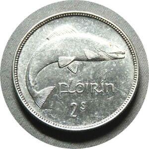 elf Ireland Florin 1928 Salmon Fish  Silver