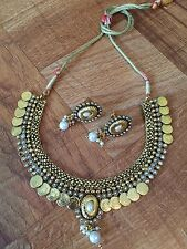 Indian Ethnic Temple Jewelry Gold Plated Laxmi Coin Necklace Set Polki N Pearls