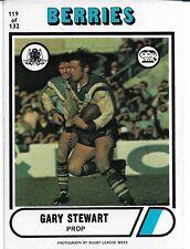 1976 GARY STEWART CANTERBURY BERRIES SCANLENS RUGBY LEAGUE CARD #119