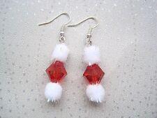 *CUTE XMAS SANTA WHITE SPARKLE POM POM RED BEAD* Drop Silver Plated Earrings