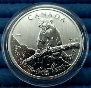 2012 Canada $5 Wildlife Series Cougar 1 oz 9999 Fine Silver Coin