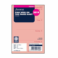 Filofax A7 Pocket Size 2019 Week On Two Pages Diary Pink Refill Insert 19-68278