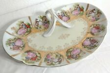 """Nappy Vanity Plate Porcelain Hand Painted Arnart Imports Courting Scene 10.5"""""""