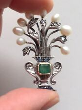 Antique Art Deco Gold Brooch Silver Emerald Diamond Pearl Antica Spilla Oro