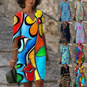 Womens Pullover Shift Retro Tie Dye Ladies Party Floral Rockabilly Mini Dress