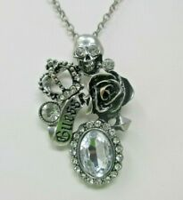 GUESS Skull Rose Crystals Pendant NECKLACE Silver Tone 16 Inches