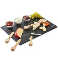 VonShef Slate Cheese Board with Knives and Small Dipping Bowls 9pc Set
