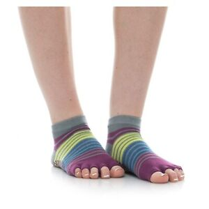 NWT Gaiam 2 Pairs Toeless Yoga Socks #05-62656 Purple/Pink/Gray Small/Medium