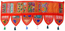 Handmade Ethnic Toran Diwali Decoration Embroidered Garland Door Hanging Orange