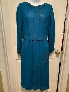 "Vintage Small Blue sheer dress ""Import Bangkok"" Beautiful Pleats, Lace and Belt"