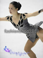 Ice skating dress Competition grey Figure Skating Baton Twirling Costume xx310