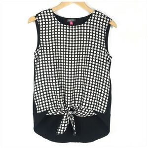Vince Camuto Tie Front Hi Low Blouse Women XS Sleeveless Dot Casual Black White