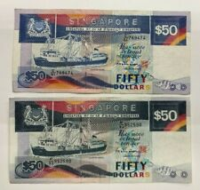 More details for singapore. 2 x 50 dollar singapore banknotes. total $100 dollars.lot: 2741.