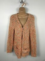 WOMENS ICHI MULTI COLOUR TEXTURED KNITTED OPEN CARDIGAN JUMPER LONG SLEEVE M