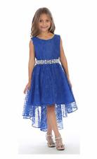Girls Wedding Pageant Dress Hi-Low Lace Flower Girl Dresses With Rhinestone Belt