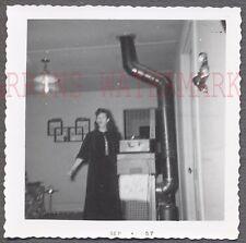 Vintage 1957 Snapshot Photo Pretty Girl Camera Surprise Unusual Interior 686655