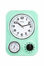 Metal Retro Kitchen Wall Clock • Temperature Gauge • Mechanical Timer • Green