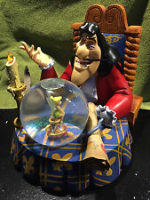 Disney** CAPTAIN HOOK TINKERBELL PETER PAN SNOW GLOBE ** NIB Musical Lights Up