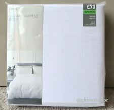 NEXT SUPER KING DUVET COVER WHITE WAFFLE SQUARE BEDSET 841 NEW