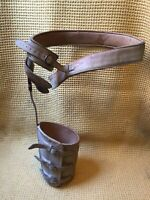 AMAZING AND RARE Antique Leather And Steel Leg Hip Brace Calipers Polio Brace