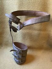 More details for amazing and rare antique leather and steel leg hip brace calipers polio brace