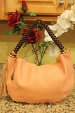Rabeanco Pink Pebbled Leather Tassel Hobo Shoulder Bag (PU800