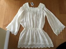 ALEXIS INTERMIX LACE GAUZE MINI DRESS TOP TUNIC COVER UP  SIZE SMALL NWT