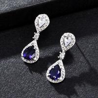925 Sterling Silver Blue Sapphire Stone Dangle Drop Women Wedding Earrings