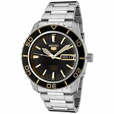 Seiko 5 Sports SNZH57 Automatic Black Gold Stainless Steel Men's Watch SNZH57K1