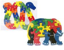 Zahlen und ABC spielerisch kennenlernen TCM Holz Puzzle Elefant Schlange