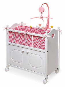 Cabinet Doll Crib with Chevron Bedding and Free Personalization Kit - White/Pink