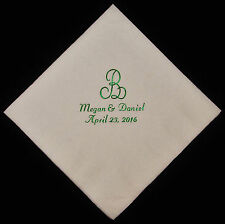 100 personalized monogram luncheon napkins wedding favors custom printed