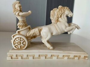 BeautifulHand Made Alabaster Roman Chariot Carriage With Horses Italy