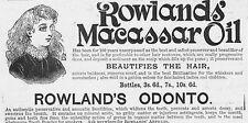 Rowland's Macassar OLIO ANTICO VITTORIANO Pubblicità 1893