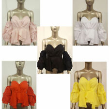 Cotton Cropped Tops & Shirts for Women with Ruffle