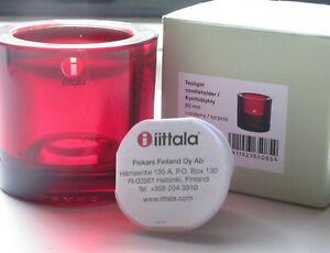 BNIB Iittala Mrimekko Kivi Heikki Orvola HandBlown Cranberry Red Candle Holder