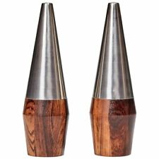 Danish Modern Rosewood and Stainless Steel Salt and Pepper Shaker Set
